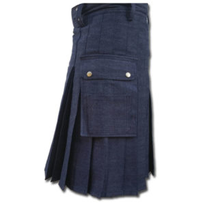 Black Denim Utility Kilt