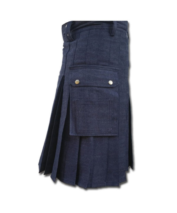 Black Denim Utility Kilt-Blue 1