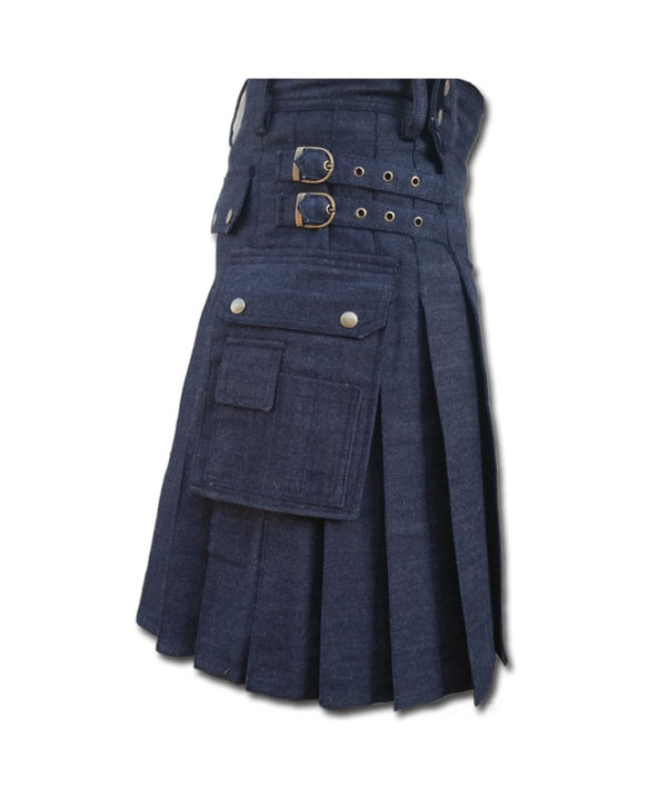Black Denim Utility Kilt-Blue 2