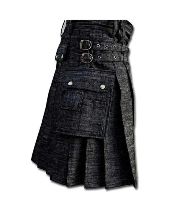Black Denim Utility Kilt-black 1