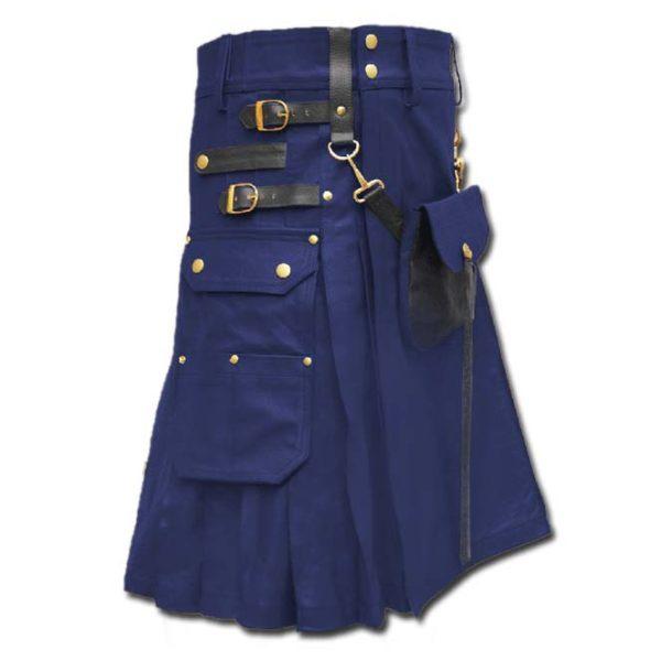 Celtic Leather Kilt with Leather Sporran-blue