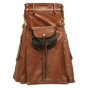 Celtic Leather Kilt with Leather Sporran-light brown