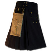 Contrast Pocket Kilt for Royal Men black