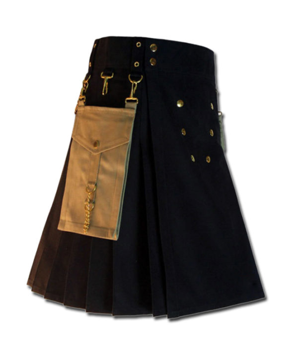 Contrast Pocket Kilt for Royal Men black