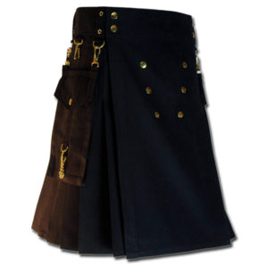 Contrast Pocket Kilt for Royal Men black1