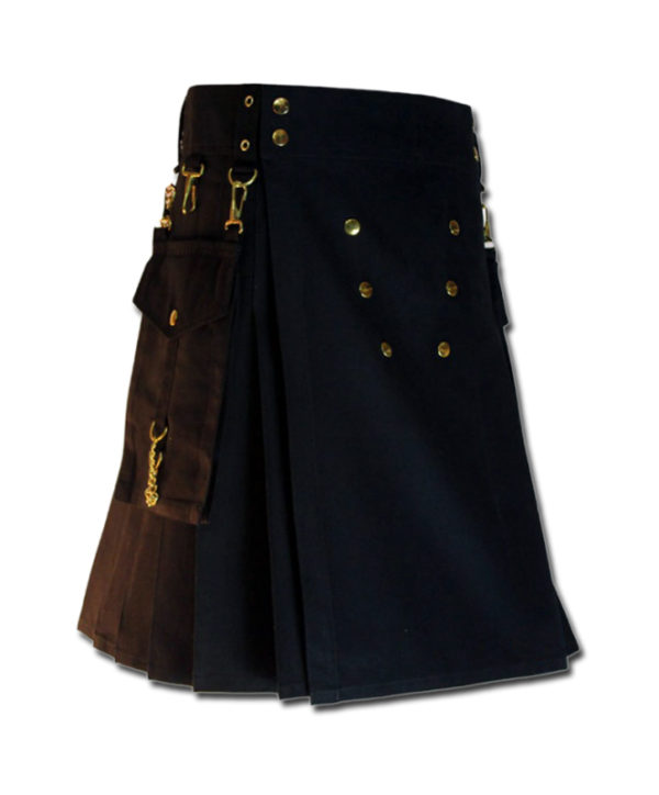Contrast Pocket Kilt for Royal Men black1