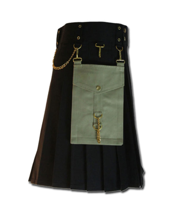Contrast Pocket Kilt for Royal Men black2