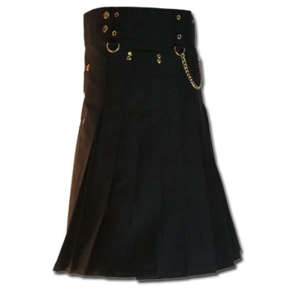 Contrast Pocket Kilt for Royal Men black4