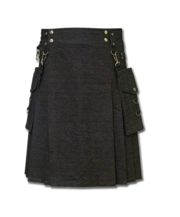 Deluxe Denim Fashionable Kilt-1