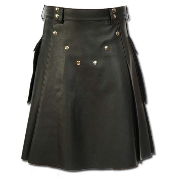 Deluxe Leather Kilt with Stylish Pockets-1
