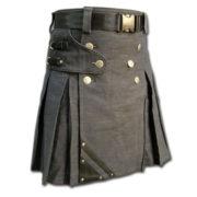 Denim and Leather Kilt-2