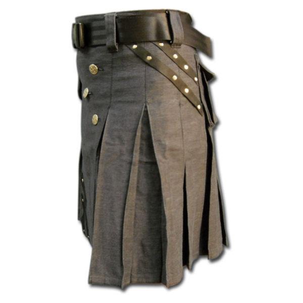 Denim and Leather Kilt-3