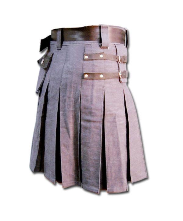 Denim and Leather Kilt-4