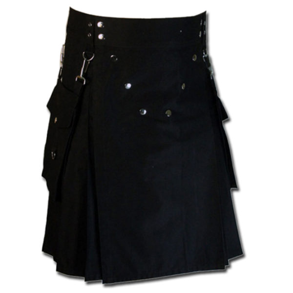 Detachable Pockets Kilt for Running Man black
