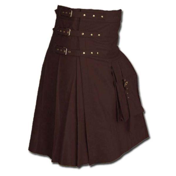 Fancy Fluttering Leather Kilt-Dark Brown