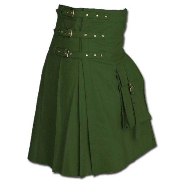 Fancy Fluttering Leather Kilt-Green