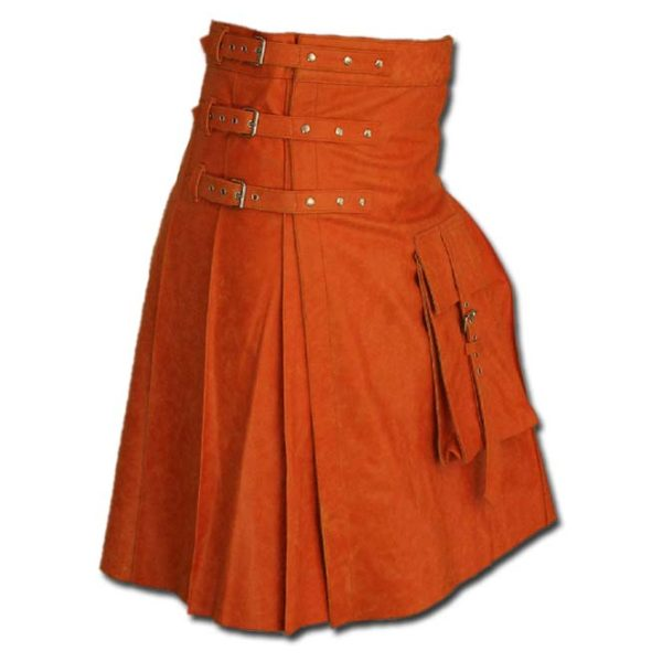 Fancy Fluttering Leather Kilt-Orange 2