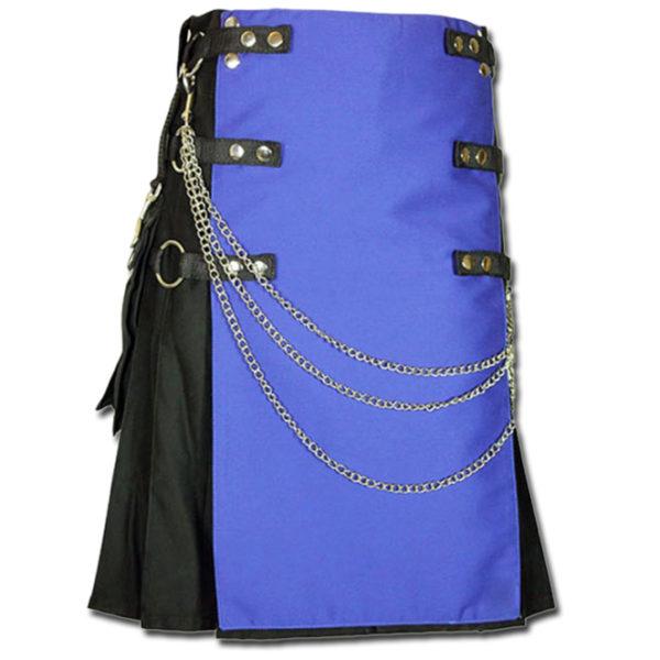 Fashion Kilt with Multi Color Pockets blue black