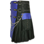 Fashion Kilt with Multi Color Pockets blue black1