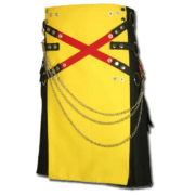 Fashion Kilt with Multi Color Pockets yellow black