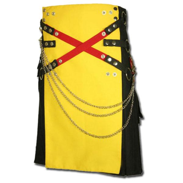Fashion Kilt with Multi Color Pockets yellow black