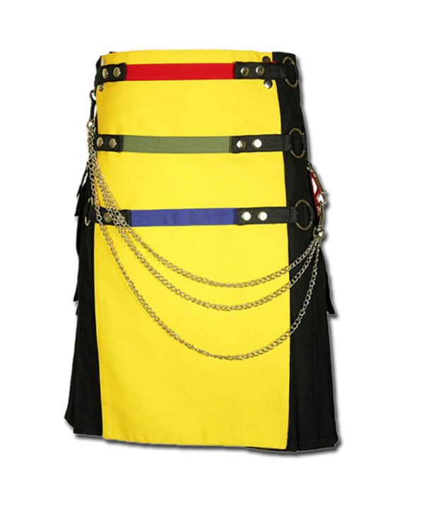 Fashion Kilt with Multi Color Pockets yellow black1