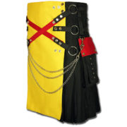 Fashion Kilt with Multi Color Pockets yellow black2