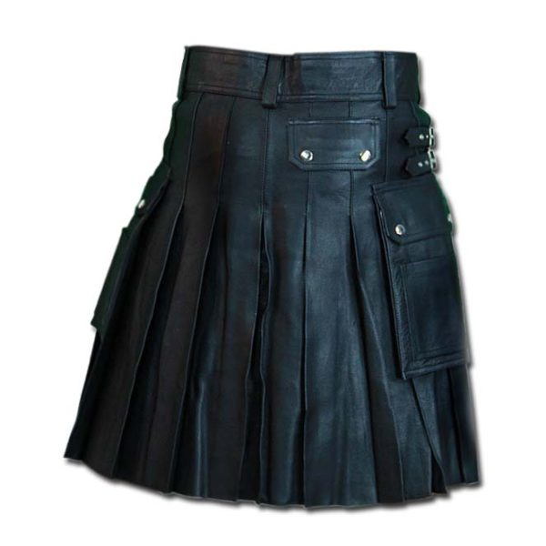 Leather Kilt with Twin Cargo Pockets-1