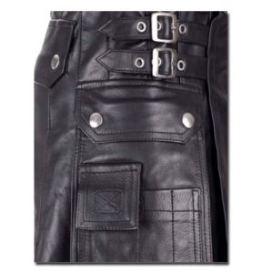 Leather Kilt with Twin Cargo Pockets