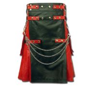 Red & Black Leather Fashion Kilt