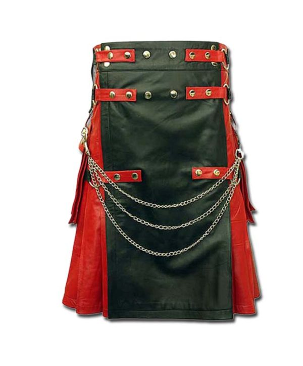 Red & Black Leather Fashion Kilt-1