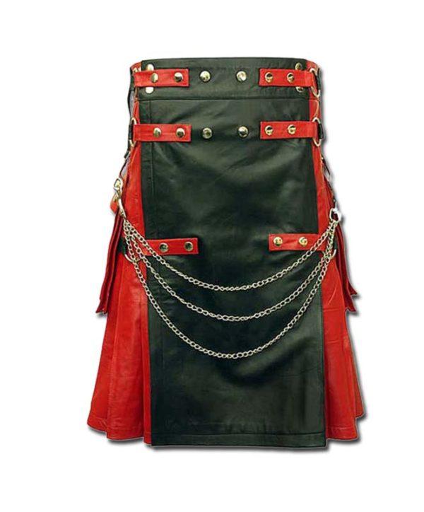 Red & Black Leather Fashion Kilt-1