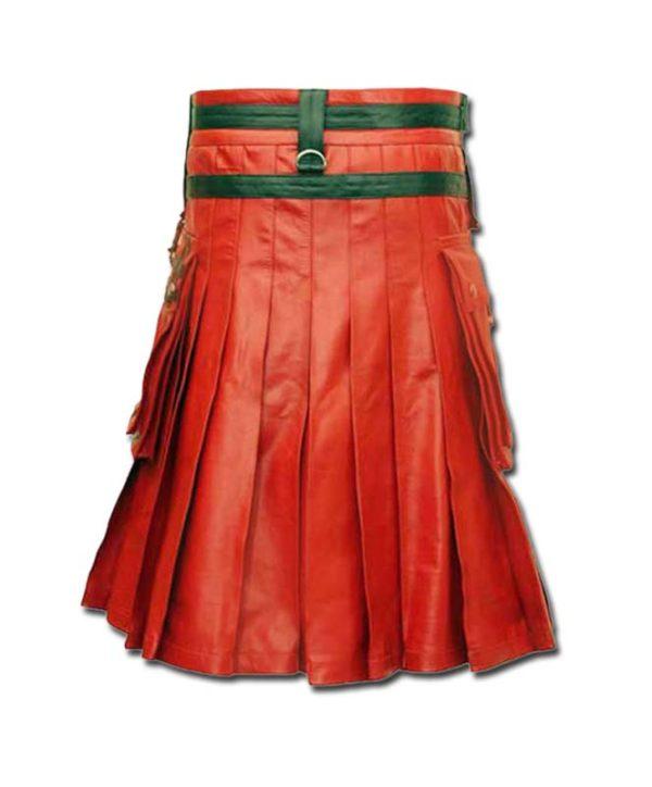 Red & Black Leather Fashion Kilt-2