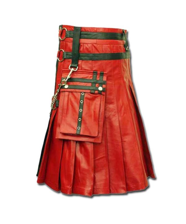 Red & Black Leather Fashion Kilt-3