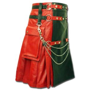 Red & Black Leather Fashion Kilt