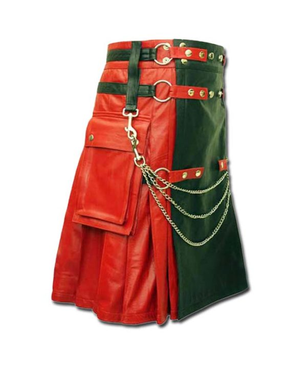 Red & Black Leather Fashion Kilt-4