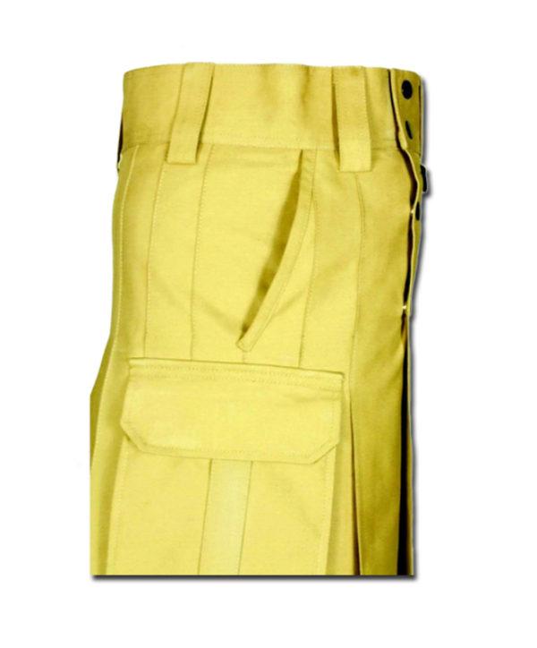 Slash Pocket Kilt for Elegant Men yellow