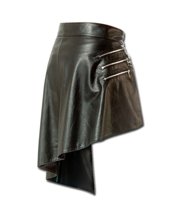 Steampunk Leather Kilt with Zipped Pockets-1