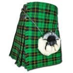 Wallace Hunting Tartan Kilt Embrace the striking difference between a vivid green and a stark black. Appreciate the contrast and relish in the exciting, invigorating green found in the Wallace Hunting Tartan Kilt. This incredible kilt is hand made out of acrylic wool that keeps the warmth in when it is cold outside while also remaining breathable in warmer weather. Green and black make up the main components of this tartan, but slender yellow lines serve to outline the patterning and provide a nice dash of sunny color. Ready to wear any sort of accessories like a sporran, the Wallace Hunting Tartan Kilt features buckles that resist rust so that you can wear it in any weather. An adjustable leather strap also comes included to ensure your comfort.