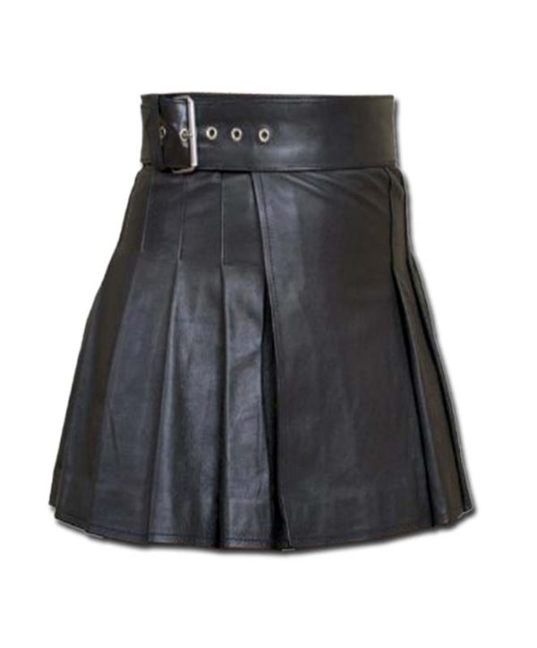 Wrap Around Leather Mini Kilt-3
