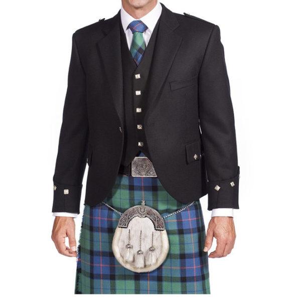 Black Argyle Jacket With 5 Button Vest-1