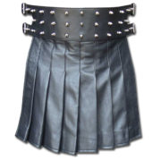 Black Mini Leather Gladiator Kilt with Studs