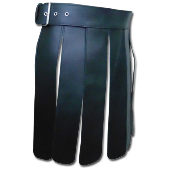 Black Short Leather Gladiator Kilt-2
