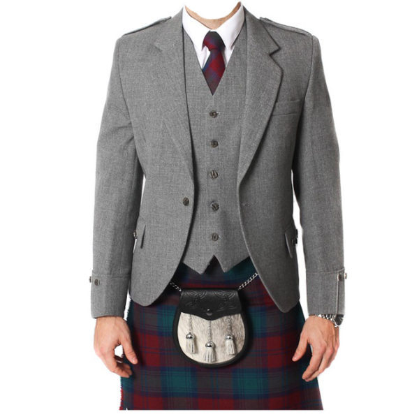 Light Grey Tweed Argyle Jacket And 5 Button Vest-1