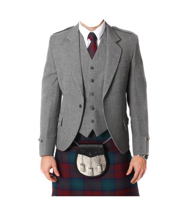 Light Grey Tweed Argyle Jacket And 5 Button Vest-1
