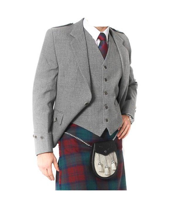 Light Grey Tweed Argyle Jacket And 5 Button Vest-2