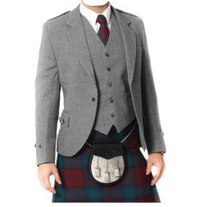 Light Grey Tweed Argyle Jacket And 5 Button Vest-3