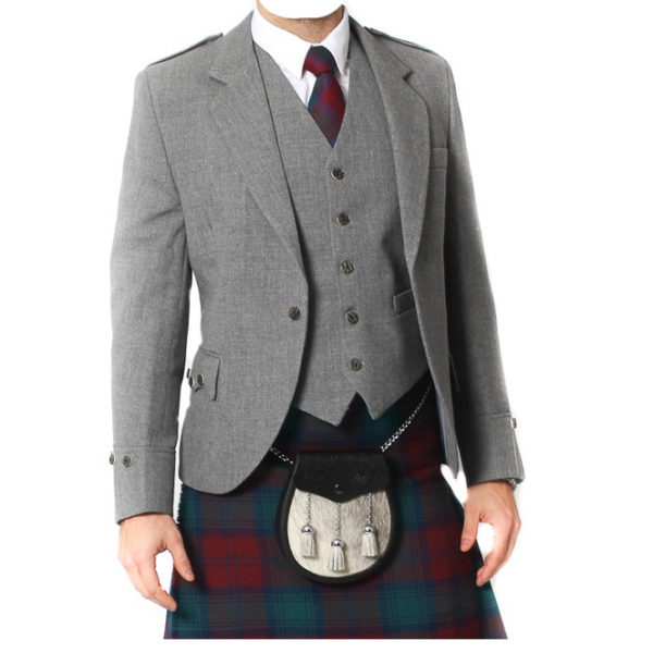 Light Grey Tweed Argyle Jacket And 5 Button Vest-3