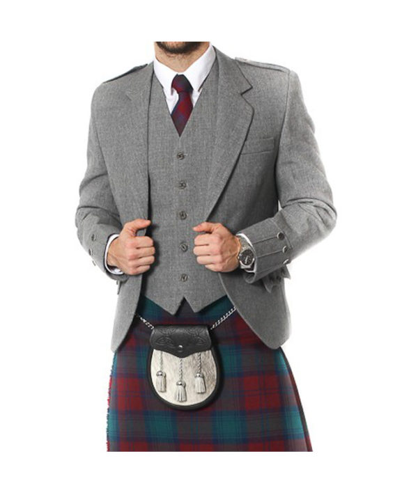 Light Grey Tweed Argyle Jacket And 5 Button Vest-5