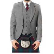 Light Grey Tweed Argyle Jacket And 5 Button Vest-6